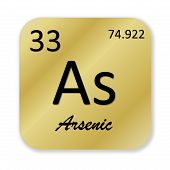 pic of arsenic  - Black arsenic element into golden square shape isolated in white background - JPG