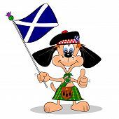 stock photo of kilt  - A cartoon dog in a kilt with the flag of Scotland - JPG