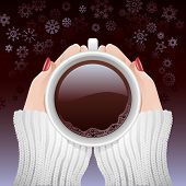 Cup Of Hot Coffee In Cold Season
