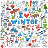 Winter Fun Sports, Activities and Accessories Hand-Drawn Notebook Doodles Set with Sled, Skis, Skate