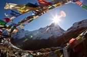 Buddhist prayer flags above Mt. Annapurna Base Camp