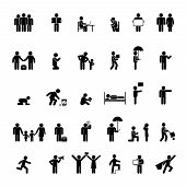 foto of crawling  - Vector people icons in various poses - JPG