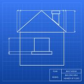 foto of measuring height  - Architectural blueprint of a house design showing an exterior elevation with window and roof heights and measurements  vector inforgraphic template - JPG