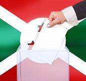 pic of burundi  - electoral vote by ballot under the Burundi flag - JPG