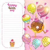 Happy Birthday Card Background With Cute Donut.