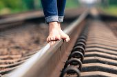 Barefoot Girl Goes By Rail