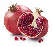 Whole, Half And Seeds Of Pomegranate Isolated On White Background