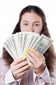 Cute Brunette Girl Considers Money