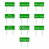 Set Road Signs Of Usa States