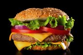 stock photo of burger  - Beautiful and juicy burger close - JPG