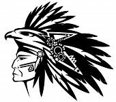 pic of headdress  - aztec tribe warrior wearing feather headdress with eagle profile head  - JPG