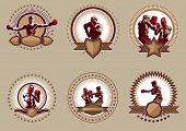 Set Of Six Circular Boxing Icons Or Emblems