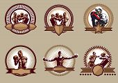 picture of pugilistic  - Set of six different vector combative sport icons or emblems showing a single boxer fighting two boxers sparring and a champion with raised arms some with shields and banners - JPG