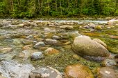 Beautiful Mountain River at North Vancouver, British Columbia, Canada.