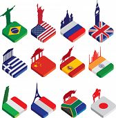 world famous landmarks as a square icon or button flag designs in colour isolated on a white backgro
