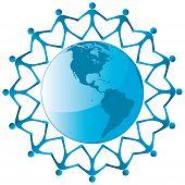 People around globe vector icon