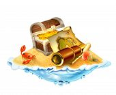 Treasure island, vector illustration isolated on white background