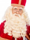 Sinterklaas with glasses . isolated on white background. Dutch character of Santa Claus