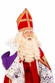 Sinterklaas with ok sign. isolated on white background. Dutch character of Santa Claus