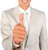 Close-up Of A Businessman With Thumb Up