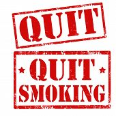 picture of quit  - Set of grunge rubber stamp with text Quit and Quit Smoking - JPG