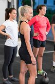Young women at crossfit training course