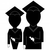 Graduation Education Icon In  Silhouette Black On White Background