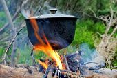 picture of cauldron  - Cooking in the nature - JPG