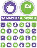 nature design buttons, icons set, vector