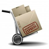 detailed illustration of a handtruck or trolley with cardboxes with overnight express delivery label