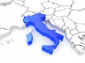 Map of Europe and Italy. 3d