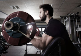 pic of bicep  - biceps preacher bench arm curl workout man at fitness gym - JPG