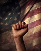 hand with american flag
