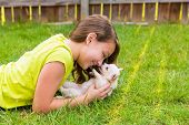 kid girl and puppy dog happy playing with chihuahua  pet lying in backyard lawn