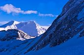 Winter morning panorama view from the top of Kaprun glacier in Austrian Alps
