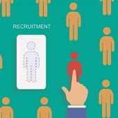 Human resource and recruitment modern concept. Hand select one persons of stack