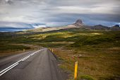 Highway Through Iceland Mountains Landscape