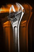 Wrench With Reflection And Black Background