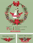 Winter wedding invitation.Retro Bride,groom,christmas wreath