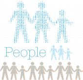 Rows word People in shape of family tile horizontally for borders