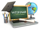 Webinar education concept. Laptop with blackboard, mortar board and diploma. 3d