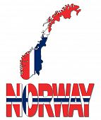 Norway map flag and text illustration