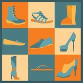 Footwear Elements Icons Set. Easily Edited