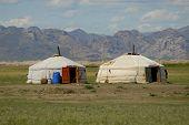 Two Mongolian yurts. Elsen Tasarhai valley, Mongolia. August, 19 2006.