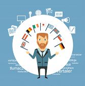 translator  with flags of different countries illustration