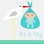 Baby Shower Card With Stork Its A Boy