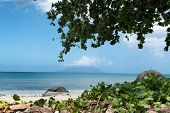 Relaxing View of Beau Vallon with Turquoise Bay Water on the Side at Mahe, Seychelles. Captured on a Tropical Climate.