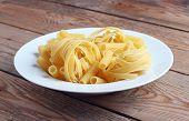 Raw Fettucini On A White Plate