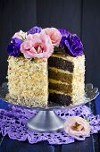 Cake with almonds and poppy seeds
