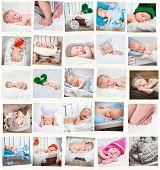 Set  of a sweet newborn babies photos